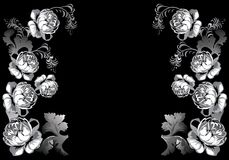 White roses design on black Royalty Free Stock Photography