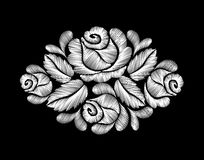 White roses embroidery on black background. ethnic flowers neck line flower design graphics fashion wearing Stock Photography