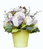 White roses and flower accessories decorated in green jug isolat Stock Photography