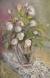 Roses in a vase. White roses in a glass vase Royalty Free Stock Photography
