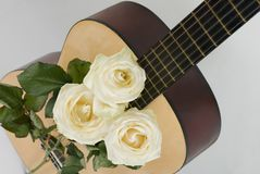 White roses, guitar Royalty Free Stock Image
