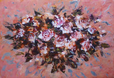 White roses ,handmade painting Stock Images