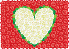 White roses heart. Beautiful white roses heart around leaves on the red roses background Stock Photography