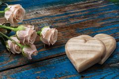 White roses and heart Royalty Free Stock Photo
