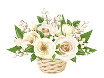 White roses, lisianthuses and lily of the valley in basket. Vector illustration. Stock Photo