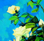 White roses, painting by oil on canvas Stock Photography