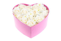White roses and pearl and diamond held in the heart shape box Stock Photography