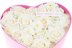 White roses and pearl and diamond held in the heart shape box Royalty Free Stock Photography