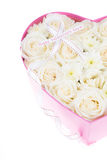 White roses and pearl and diamond held in the heart shape box Royalty Free Stock Photo