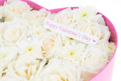White roses and pearl and diamond held in the heart shape box Stock Images