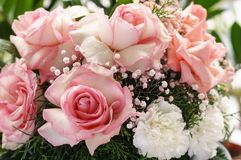 White Roses with pink borders Bouquet. Beautiful Roses bouquet with white roses with pink borders, pink roses, white carnations, pink and white baby`s breath royalty free stock photo