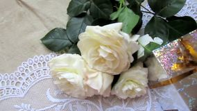 White roses and present stock video