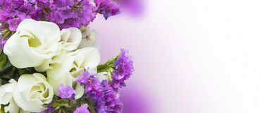 White roses with purple flowers bouquet Stock Image