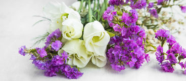 White roses with purple flowers bouquet Royalty Free Stock Photography