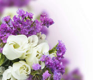 White roses with purple flowers bouquet Stock Images