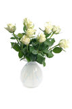 White roses in vase Stock Images