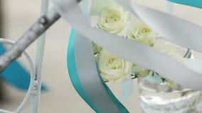 White roses in a vase stock video