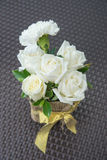White roses in vase. Stock Photo