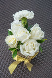 White roses in vase. Stock Photos