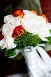 White roses wedding bouquet. White and orange roses wedding bouquet stock photos