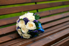 White roses wedding bouquet. On the bunch Stock Photos