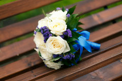White roses wedding bouquet. On the bunch Stock Photo