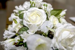 White roses wedding bouquet of flowers shot close up with a shal Royalty Free Stock Images