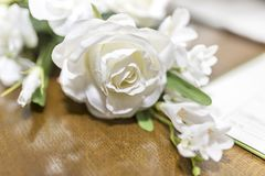 White roses wedding bouquet of flowers shot close up with a shal Stock Photography