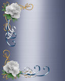 White Roses Wedding Invitation Border  Royalty Free Stock Images