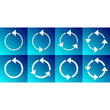 White rotating circle arrows collection. In blue squares Royalty Free Stock Image