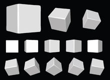 White rotating cubes VECTOR. Vector illustration perspective view of a white beveled cube Royalty Free Stock Photos