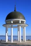 White rotunda. Near the shore of the lake Stock Photo