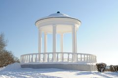 White rotunda in Orel in snowy winter Royalty Free Stock Images
