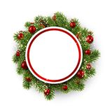 White round background with Christmas wreath. Royalty Free Stock Image