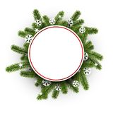 White round background with Christmas wreath. Stock Images