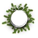 White round background with Christmas wreath. Stock Photo