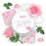 Happy birthday card with red roses. White round banner with pink photo realistic roses, petals, hearts, gifts with bows and hand writting font text Happy Royalty Free Stock Images