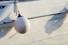White round boat fender for motor boat Stock Photo