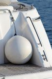 White round boat fenders for motor yacht Stock Image