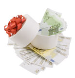 White round box full of banknotes. For one and two hundred euros Royalty Free Stock Photo