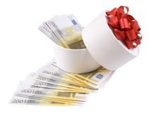 White round box full of banknotes Stock Photography