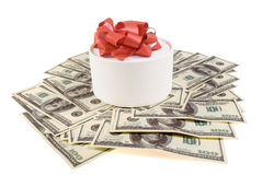 White round box withf banknotes. For one hundred dollars Stock Image