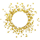 White round card on scattered gold confetti Royalty Free Stock Image