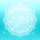 White Round Copy Space with Snowflake Decoration. Detailed White Round Copy Space with Snowflake Decoration on Christmas Holiday Background Royalty Free Stock Photo