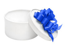 White round empty gift box with blue bow Stock Image