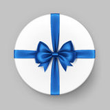 White Round Gift Box with Blue Satin Bow and Ribbon. Vector White Round Gift Box with Shiny Blue Satin Bow and Ribbon Top View Close up Isolated on Background Royalty Free Stock Photos