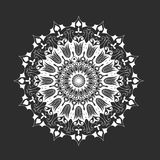White round mandala on black background, abstract Stock Photos