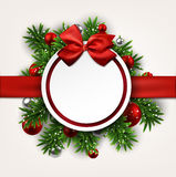 White round paper christmas card with bow. royalty free illustration