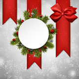 White round paper christmas card Stock Photography