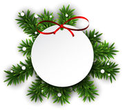 White round paper christmas card . vector illustration